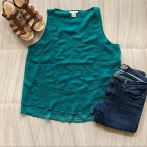 Lucky Brand Teal Embroidered Sleeveless Tank